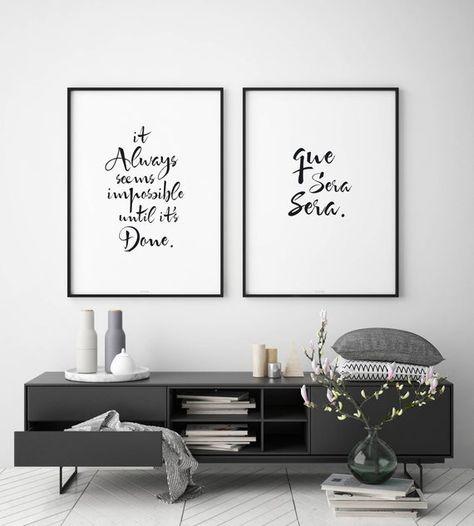 Que Sera Sera Quote Print Black and White Wall Decor Living | Etsy