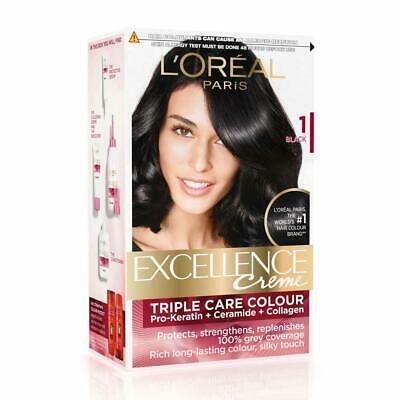 L Oreal Paris Excellence Creme Hair Color 1 Black 72ml 100g Free Shipping 3600520222202 Ebay Hair Color Loreal Hair Color Blue Black Hair