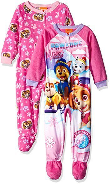 Marshall /& Skye Footed Sleeper Pajamas Sleeper Pajamas Paw Patrol Chase 2-Pack - Toddler Girls