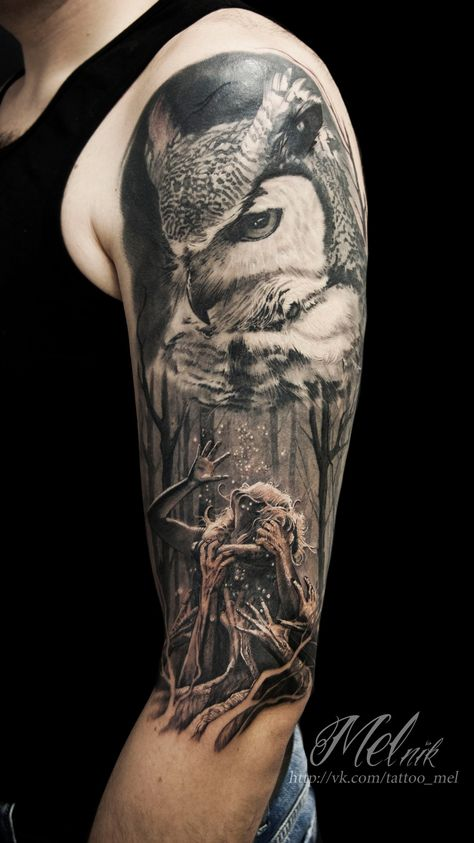 Tattoo Maksim Melnik - tattoo's photo In the style Black and grey, Owls, Gir