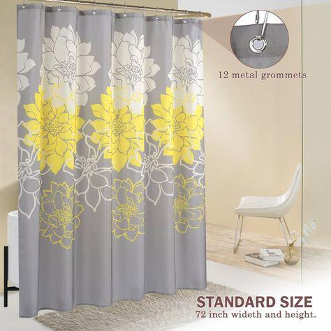 Wimaha Peony Flower Fabric Shower Curtain Yellow And Grey 72x72