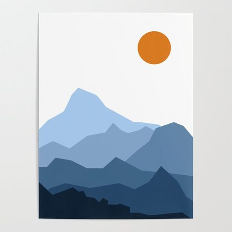 Buy Abstract Blue And Orange Mountain Sunset Landscape Poster by mattearl. Worldwide shipping available at Society6.com. Just one of millions of high quality products available.