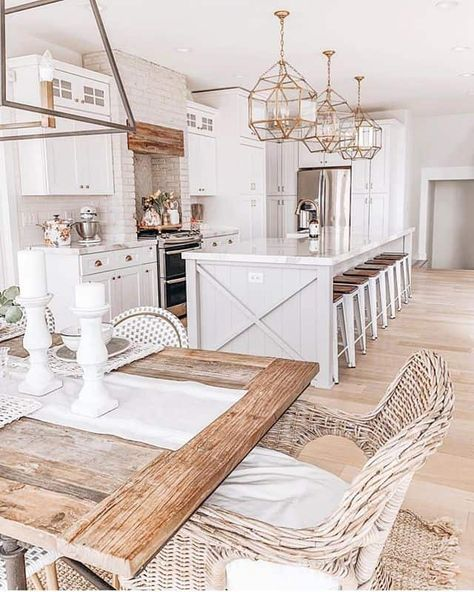 Cottage Kitchen Cabinets, Home Decor Kitchen, Kitchen Island, Kitchen Ideas, Modern Farmhouse Kitchens, Home Kitchens, Farmhouse Interior, Farmhouse Style Kitchen, Modern Farmhouse Style