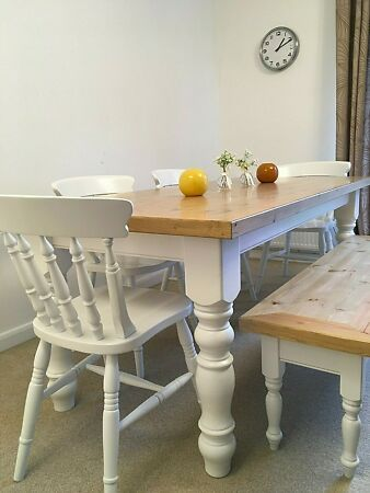 Details About Farmhouse Dining Table With Chairs And Bench Bespoke