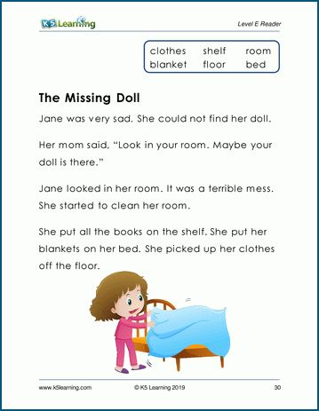 The Missing Doll Level E Children S Story K5 Learning Reading Comprehension Reading Comprehension Kindergarten Kindergarten Reading Worksheets