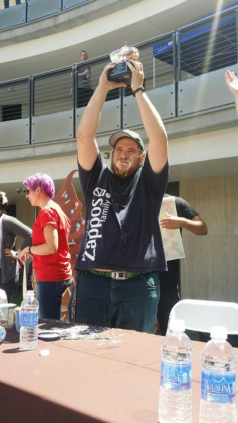 Meet Rob G. Winner of the 2015 Zappos Ice Cream Eating Contest and recipient of an awesome trophy, bragging rights, a brain freeze, and a $300 gift card. He ate 2 pints of ice cream in 5 minutes! #BeastMode