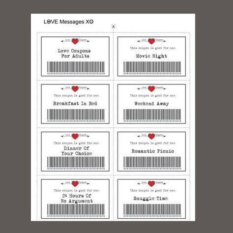 Liebe 39 druckbare Coupons Valentine bedruckbar | Etsy