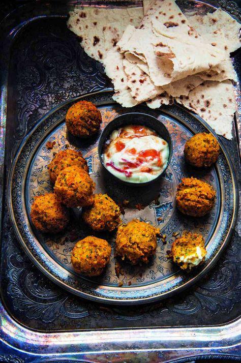 Butternut squash and feta falafel with smoked chilli crème fraîche. #vegetarian #recipe