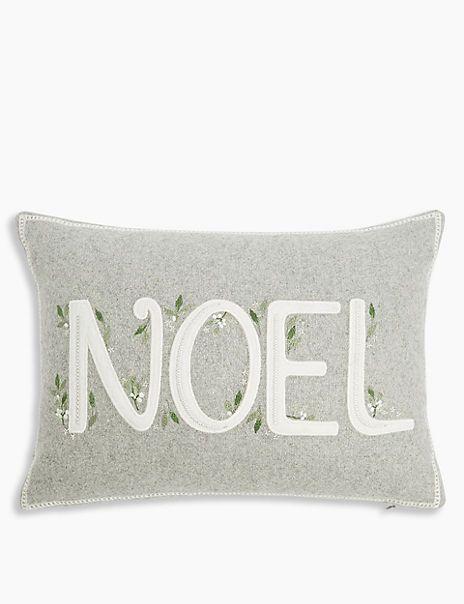 Noel Cushion M S Christmas Cushions Decorative Holiday Pillows Faux Fur Bean Bag