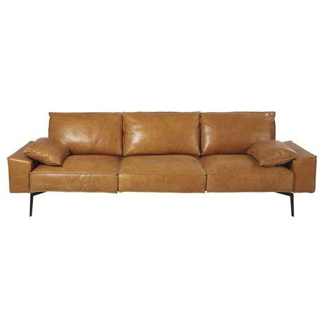 3 Sitzer Sofa Mit Lederbezug Camelfarben Dyonisos Sofas Couches In 2019 3 Seater Leather Sofa Leather Sofa Furniture