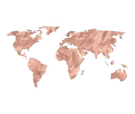 World Map Rose Gold Pink Vintage