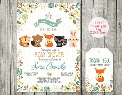 photograph relating to Free Printable Woodland Baby Shower Invitations called Pinterest
