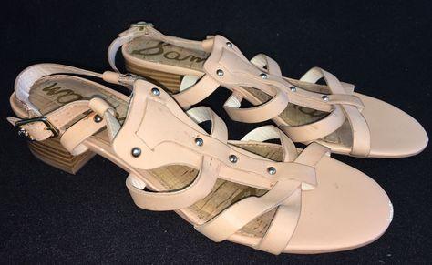 ce7db658dffe Sam Edelman ANGELA Brown Leather Strappy Gladiator Block Heel Stud ...