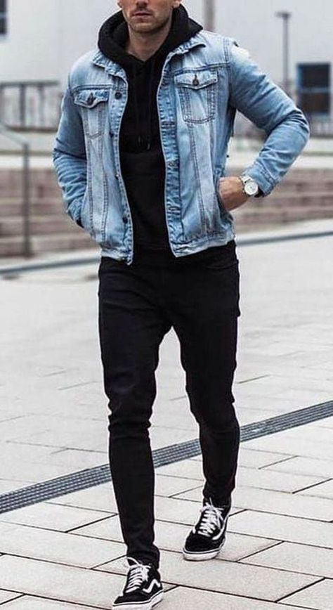 15 Easy Mens Fashion Casual Tricks For A Sharper Look Why mens fashion casual matters? Because no one likes to look boring! But what are the best mens fashion casual tips out there that can help you […] denim on denim outfit men casual Stylish Mens Outfits, Casual Outfits, Men Casual, Casual Jeans, Winter Outfits, Casual Shoes, Stylish Man, Stylish Clothes, Mens Fashion Wear