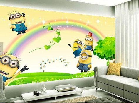 Minions Cartoon Rainbow Background Wallpaper Mural for Kids