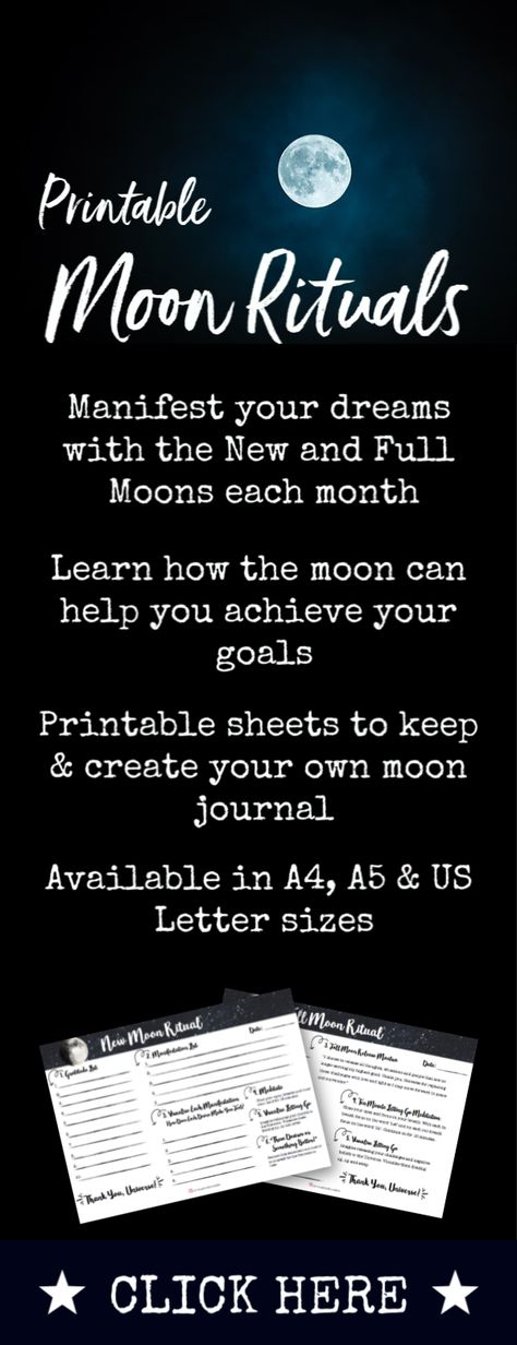 The time of the New and Full Moon is a powerful window to focus on your goals and dreams. The New Moon energy is about planting the seed of what you want to manifest, while the Full Moon energy is perfect for releasing and letting go. These beautiful printables allow you to create your moon rituals each month and both come with a 2-page guide #moonritual #manifestation #lunar #moonenergy #newmoon #fullmoon #universe #moonmagic #energy #goals #planner #printable #monthly
