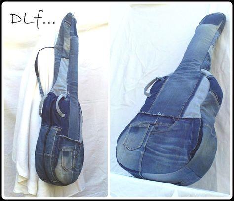 Überzug der Gitarre in wiederverwendeter Jeans von Mein kleines Geschäft Recycling auf DaWanda.com