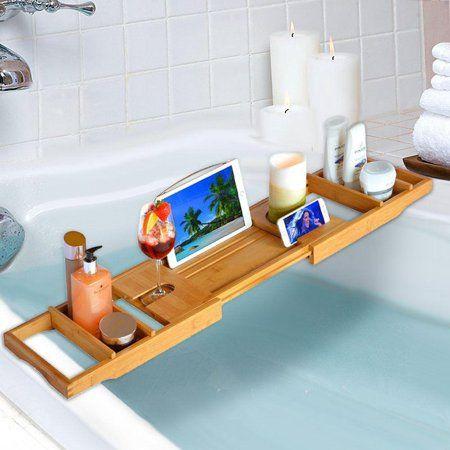 Bathroom Bamboo Bathtub Rack Bath Caddy Wine Glass Holder Tray Over Bath Tub US