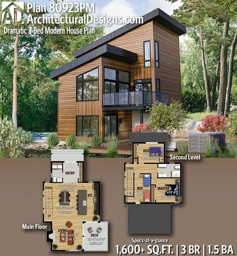 Plan 80923pm Dramatic 3 Bed Modern House Plan Small Modern House Plans Modern House Plan Modern House Plans