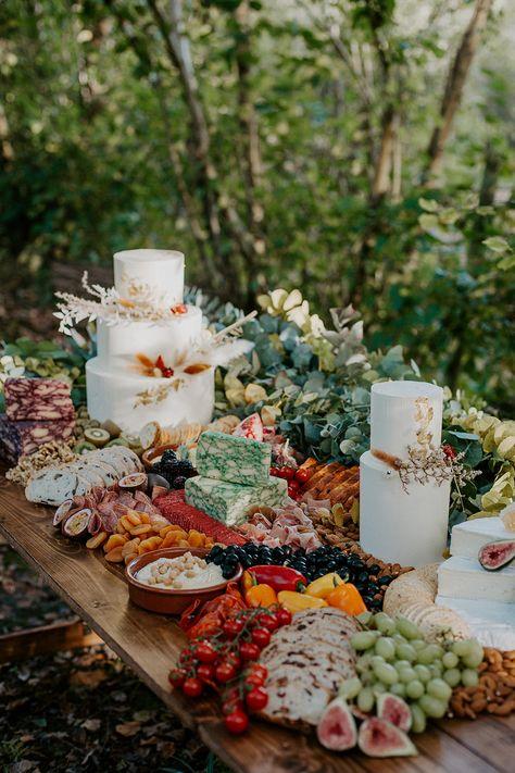 Grazing Table Food Sharing Platter Boho Wedding Ideas The Enlight Project Wedding In The Woods, Forest Wedding, Woodland Wedding, Dream Wedding, Woods Wedding Ideas, Wedding Summer, Summer Weddings, Wedding Night, Beach Weddings