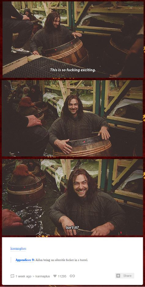 I love how Aidan seems to the ony member of the cast who was excited about the barrel scene. maybe it is why it looked like Kili was having the time of his life on the movie. / The Hobbit Cast /Aidan Turner /Kili Hobbit Funny, O Hobbit, Hobbit Dwarves, The Hobbit Movies, Fili Und Kili, Kili And Tauriel, Jrr Tolkien, Thranduil, Legolas