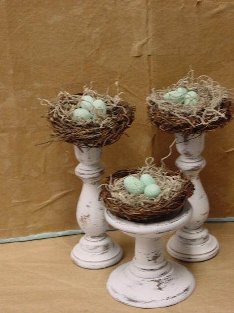 35 Easy DIY Bird Nest Decorations For A Beautiful Easter Bird topped cloches<br> Here, we share with you some of the easiest DIY bird nest decorations. Adorable to look at, these nests would surely add colors to your Easter celebration. Spring Home Decor, Spring Crafts, Easter Tree Decorations, Diy Ostern, Easter Table, Easter Eggs, Glass Containers, Easter Crafts, Easter Ideas