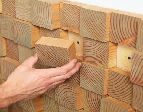 *** wood wall fire place back splash OR vision board *** DIY Natural Wood Block Wall Treatments Decor Inspiration Ideas - Artistic Wall Treatment Decor Ideas