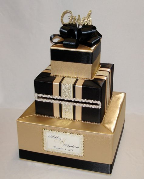 Black Wedding Card Box with Champagne Ribbon You Customize Colors - fresh invitation card reuse