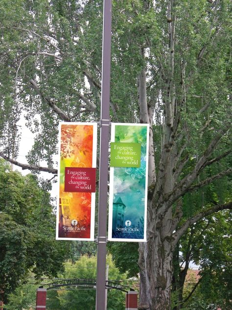 Seattle Pacific University's Pole Banners Replaced for School Year - Washington Graphics