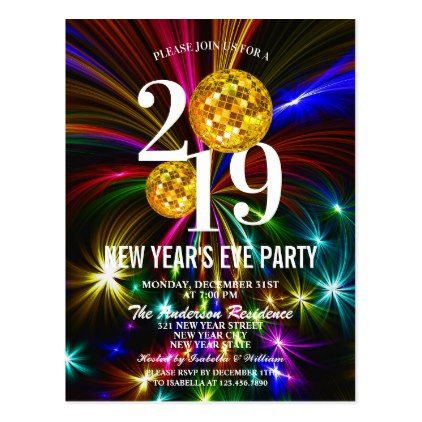 Luxury Gold Glitter New Years Eve Party Invitation Postcard