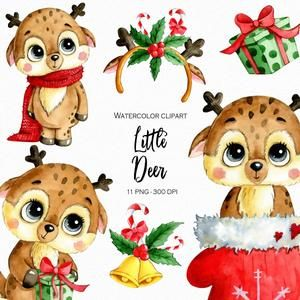 Watercolor Cute Winter Christmas Party Animals Clipart Png Etsy Clip Art Christmas Deer Print Planner