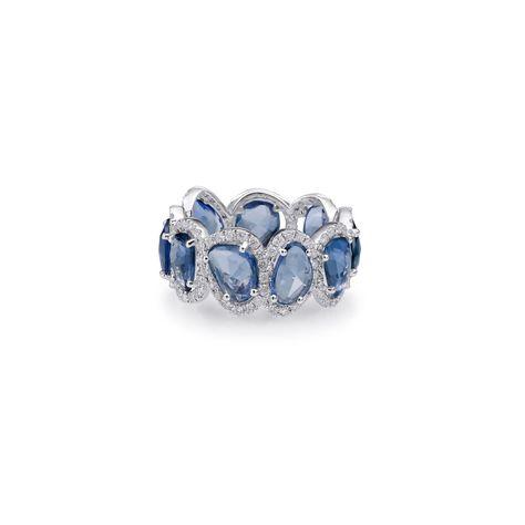 Sapphire Slice Mixed Shape Eternity Band with Diamonds
