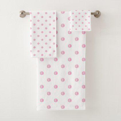 Mini Pink Polka Dots Bath Towel Set Zazzle Com With Images