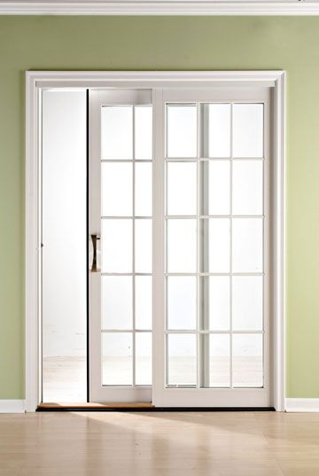 Deco window treatments on pinterest window treatments for Sliding glass doors that look like french doors