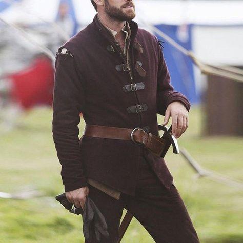 Plus Size Fashion Stand Collar Men Medieval Jacket Renaissance Knight Buckle Up Coat Vintage Viking Man Warrior Jackets Without Belt