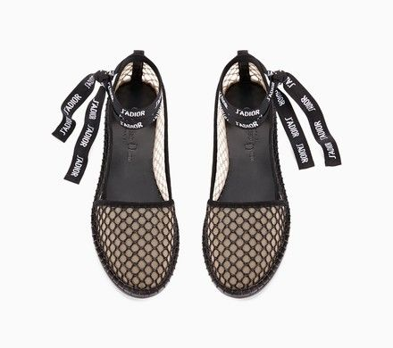 lace-up espadrille in black mesh - Dior