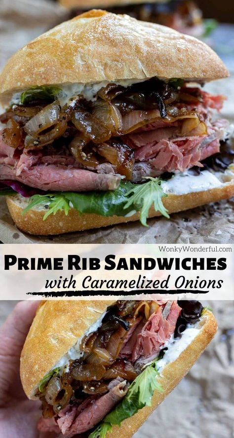 So you made a prime rib roast and are lucky enough to have leftovers, make this Leftover Prime Rib Sandwich Recipe. Thinly sliced prime rib, horseradish mayo, caramelized onions and fresh greens make Gourmet Sandwiches, Dinner Sandwiches, Soup And Sandwich, Wrap Sandwiches, Best Sandwich Recipes, Chicken Sandwich, Reuben Sandwich, Prime Rib Sandwich, Slow Roasted Prime Rib