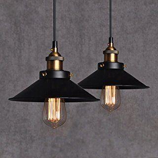 2Pcs Métal Retro Suspensions Luminaires Métal Antique