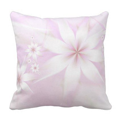 Pretty Floral White Light Pink Flower Abstract Throw Pillow Zazzle Com In 2020 Throw Pillows Light Pink Flowers Pillows