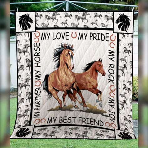 Handmade Coral and Sage Green Horse Quilt Large Throw or Twin Size