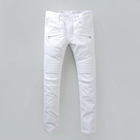 9e44762838d0 Plus 40 Size New Luxury Balmain Jeans Men Brand Designer Denim Skinny Jeans  Fashion White Jeans Men Robin Jeans