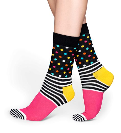 5f131feb931b9 Boasting a unique pattern, these combed cotton socks feature vivid stripes  and dots. Above the ankle, solid black is spotted with green, blue, pink,  orange, ...