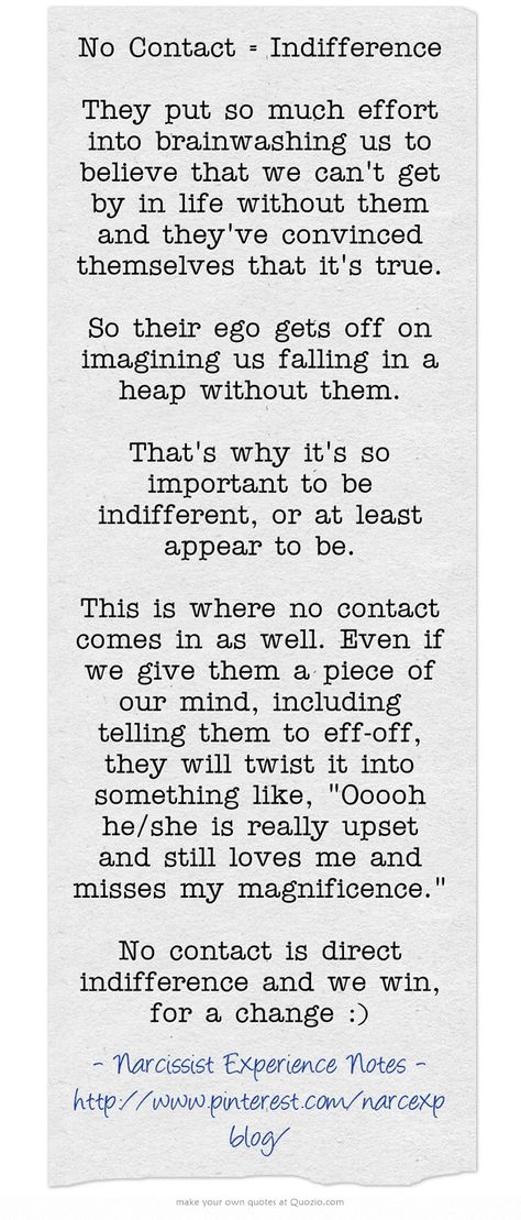 No Contact = Indifference