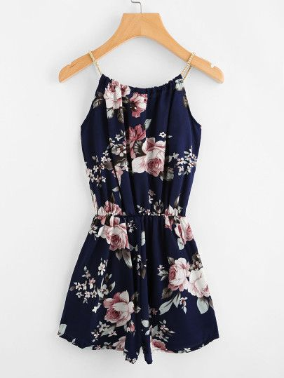 Product name: Floral Print Random Self Tie Cami Romper at SHEIN, Category: Jumpsuits