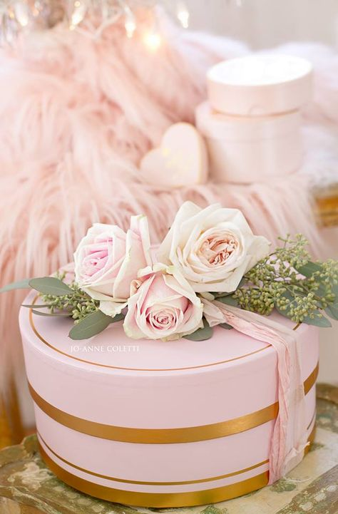 Pink Christmas box from Target style French Country Christmas, Shabby Chic Christmas, Christmas Mood, Gold Christmas, Pretty Box, Pretty In Pink, Flea Market Decorating, Rose Cottage, Cottage Style