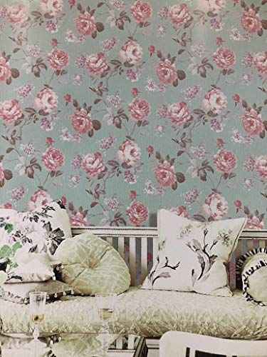 Fancy Wallpaper Co Italian Style Heavy Embossed Floral Wallpaper Roll 57 Sq Ft Light Green And Pink Fancy Embossed Wallpaper Wallpaper Roll Kids Wallpaper