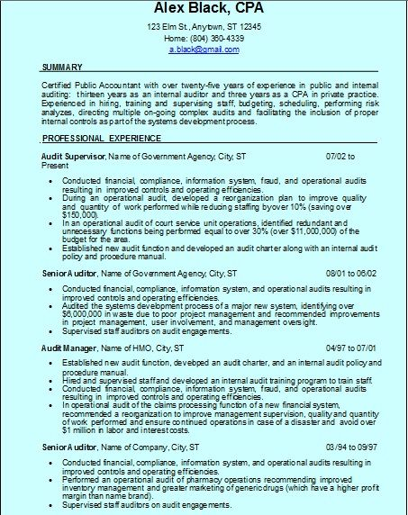 49 best Resume Writing Service images on Pinterest Resume - internal auditor resume sample