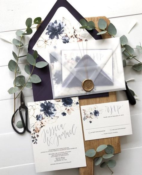 Purple floral Wedding Invitation, with wax seal and vellum envelope The invitation is printed on off white, with vellum envelope and sealed with wax seal(can be a custom seal) THIS IS FOR A GENERIC SAMPLE ONLY  PRICING IS IN USD  MINIMUM QUANTITY IS 25 PRICING BASED ON QUANTITY: 25-49