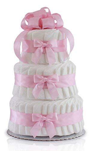 Classic Pastel Baby Shower Diaper Cake 3 Tier Pink Baby Diaper Cake Baby Girl Diaper Cake Baby Shower Diaper Cake