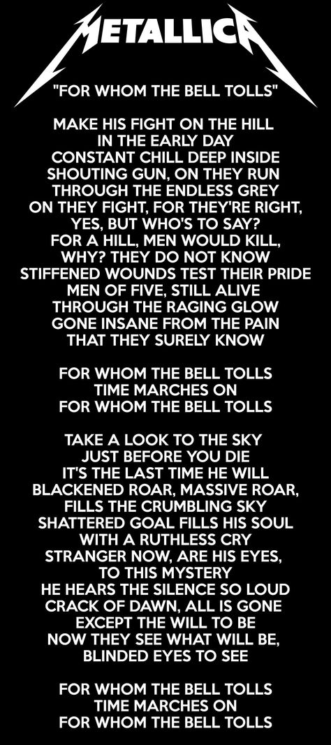 METALLICA  For Whom The Bell Tolls ❤ song lyric poster art print 5 sizes #1